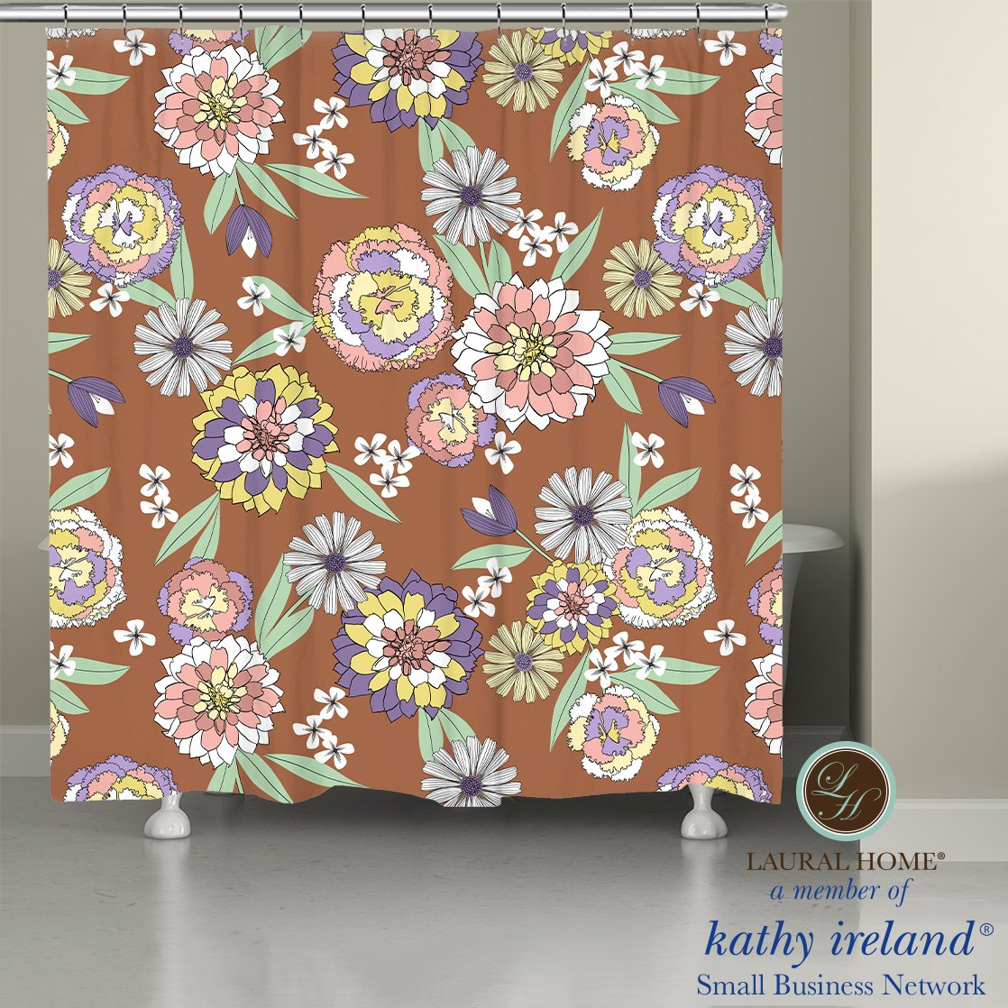 Laural Home kathy ireland® Small Business Network Member Retro Floral Bursts Shower Curtain