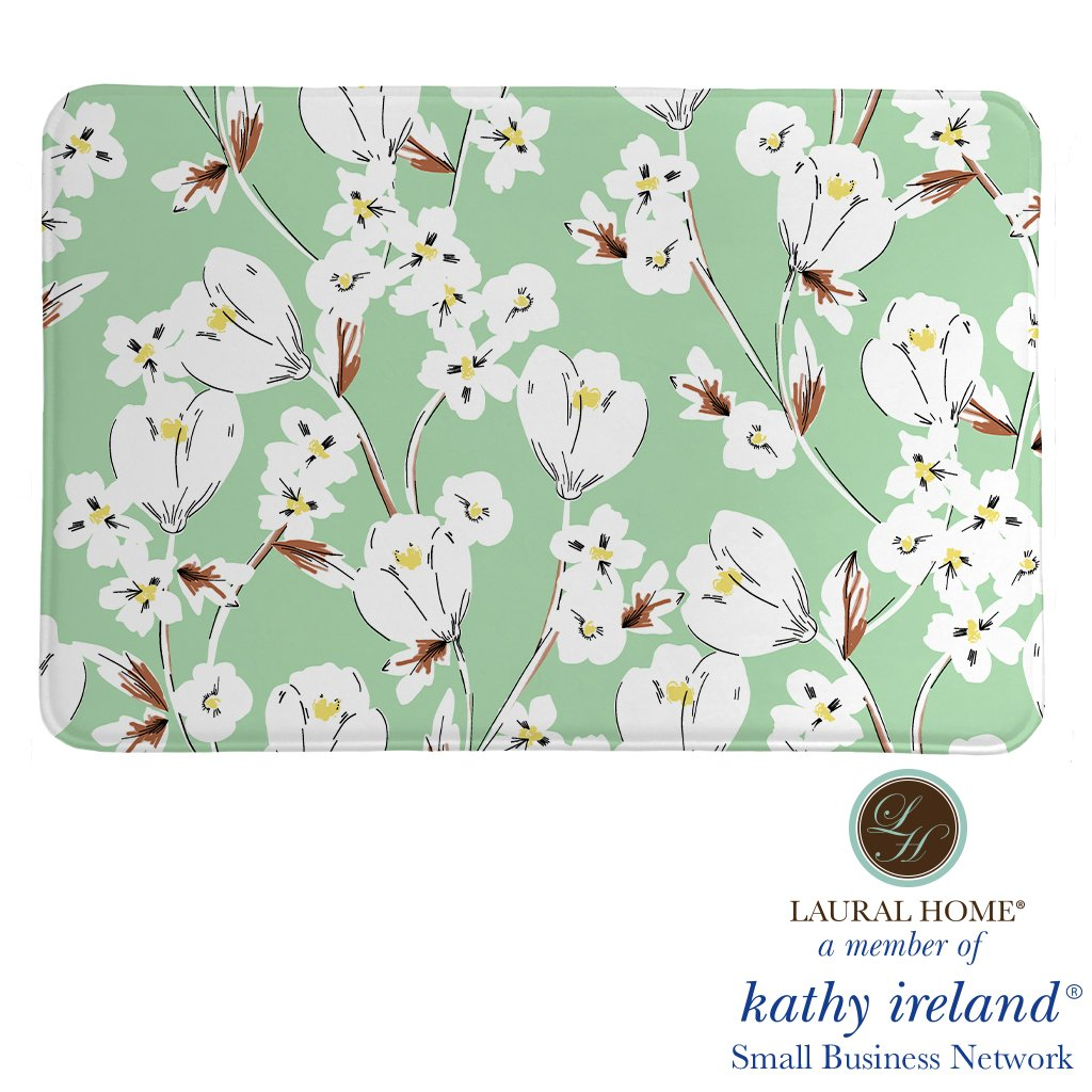 Laural Home kathy ireland® Small Business Network Member Retro Floral Mint Memory Foam Rug
