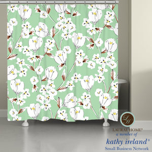 Laural Home kathy ireland® Small Business Network Member Retro Floral Mint Shower Curtain