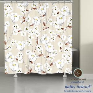 Laural Home kathy ireland® Small Business Network Member Retro Floral Neutral Shower Curtain