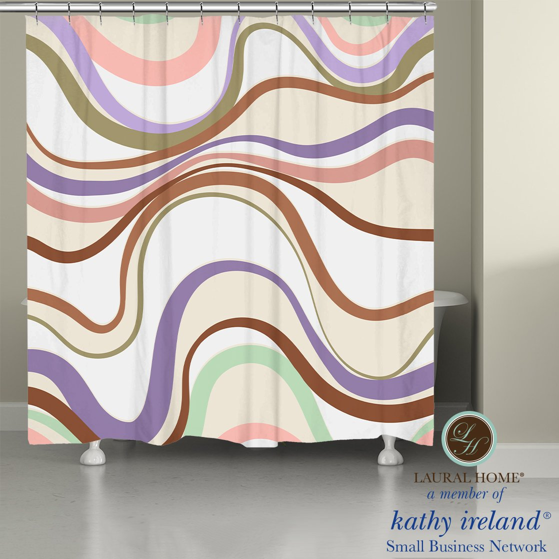 Laural Home kathy ireland® Small Business Network Member Retro Wave Shower Curtain