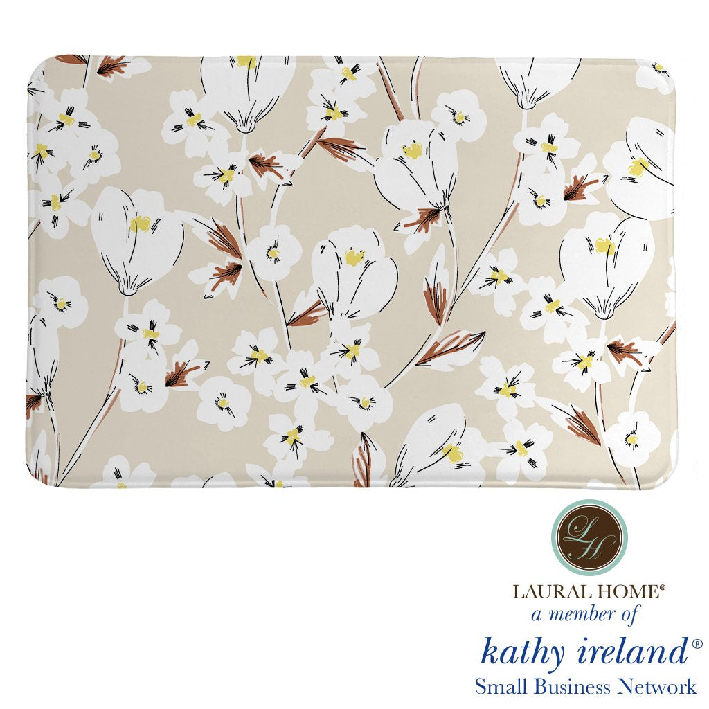 Laural Home kathy ireland® Small Business Network Member Retro Floral Neutral Memory Foam Rug