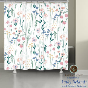 Laural Home kathy ireland® Small Business Network Member Delicate Floral Boho Shower Curtain
