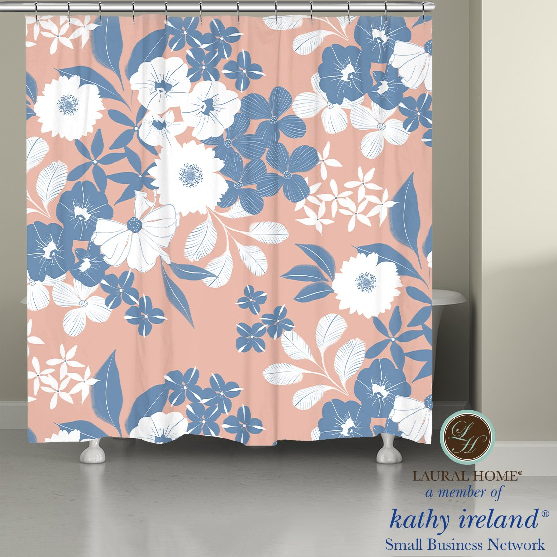Laural Home kathy ireland® Small Business Network Member Delicate Floral Bursts Shower Curtain