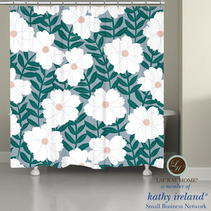 Laural Home kathy ireland® Small Business Network Member Delicate Floral Magnolia Shower Curtain