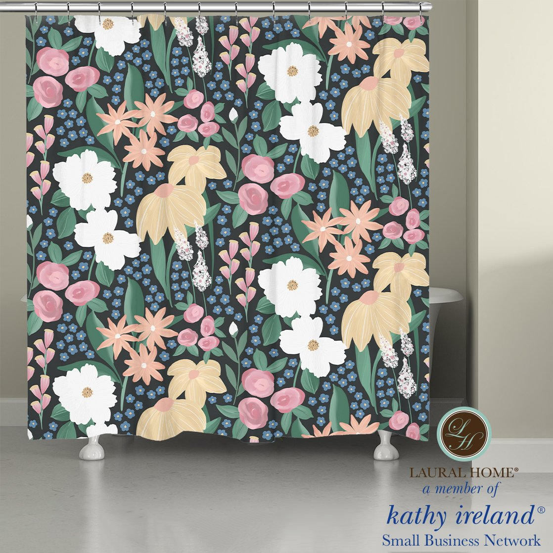 Laural Home kathy ireland® Small Business Network Member Delicate Floral Midnight Garden Shower Curtain