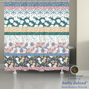 Laural Home kathy ireland® Small Business Network Member Delicate Floral Stripe Shower Curtain