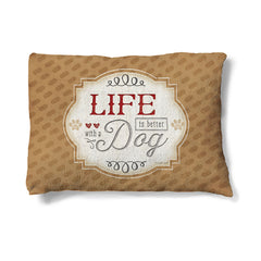 "Life With a Dog 30"" x 40"" Fleece Dog Bed features the perfect dog-owner mantra on a neutral backdrop."