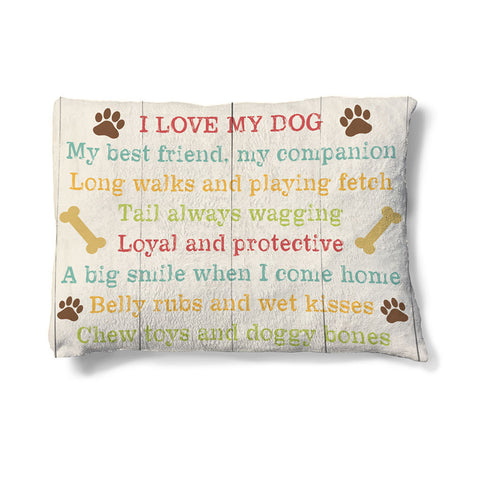 "Dog Love 30"" x 40"" Fleece Dog Bed"