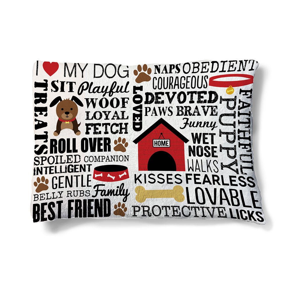 "Dog Words 30"" x 40"" Fleece Dog Bed features popular dog saying along with cartoon images of dog houses, bones, collars, and paws."