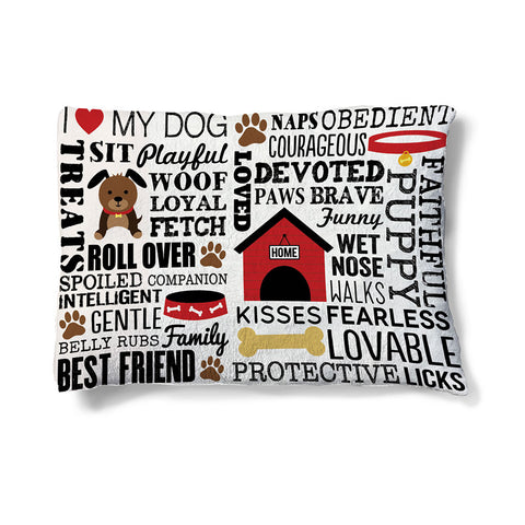 "Dog Words 30"" x 40"" Fleece Dog Bed"