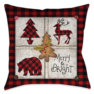 "Laural Home's ""Merry and Bright"" accent pillow depicts a collage of a deer, bear, and evergreen tree with a rich red and black plaid background and button accents. This decorative pillow is a simply perfect addition to your seasonal holiday decor."