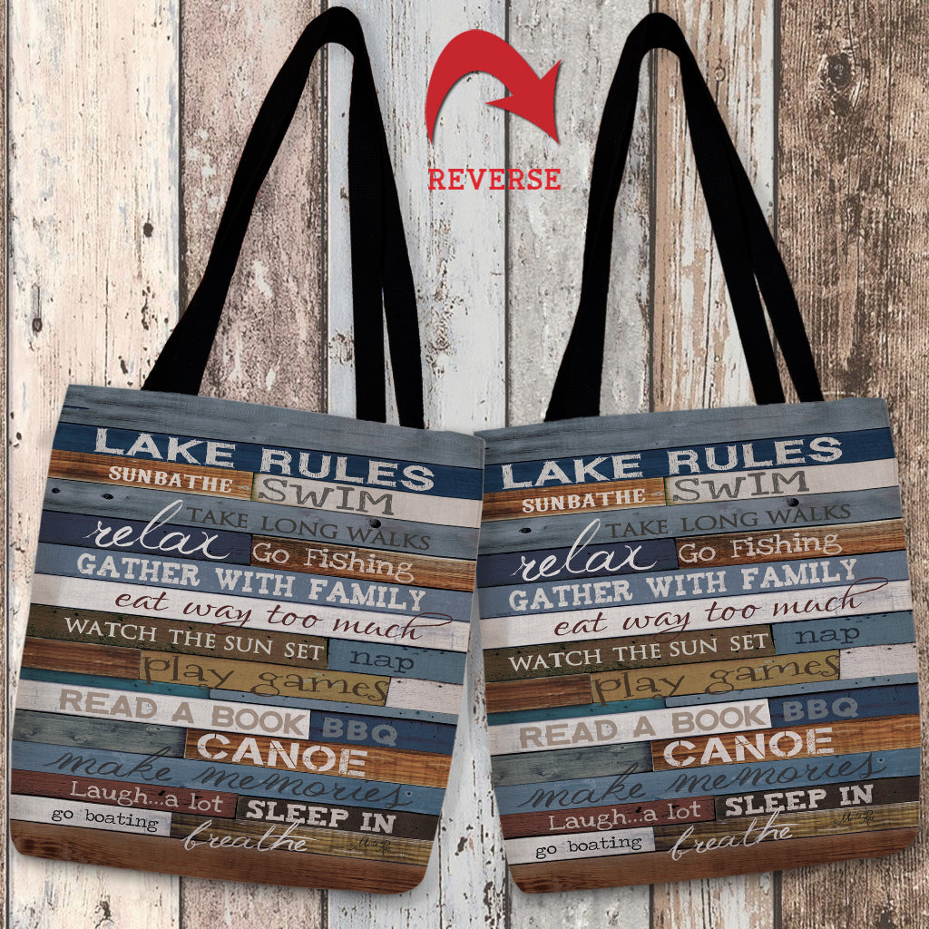 Lake Rules Canvas Tote Bag