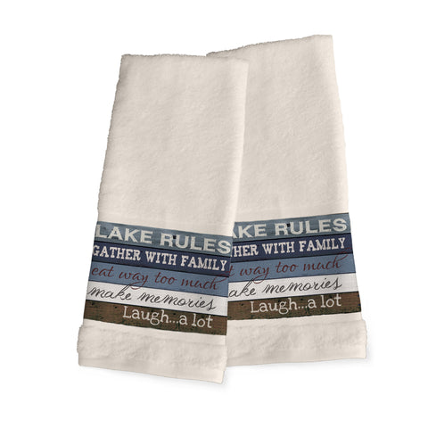 Lake Rules Hand Towels