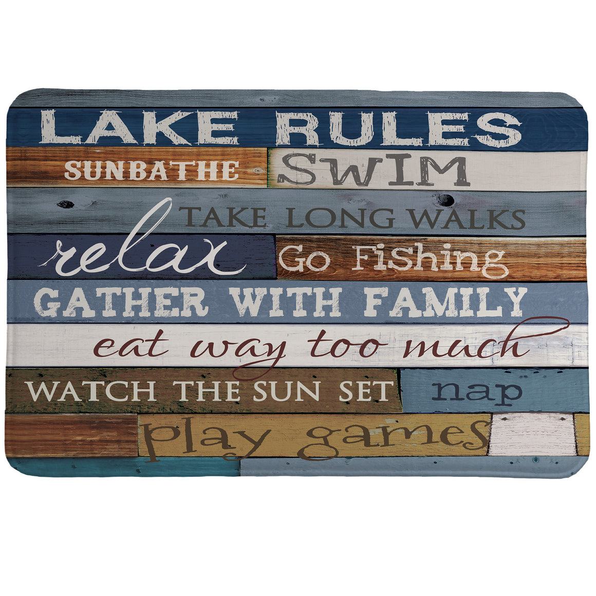Lake Rules Memory Foam Rug features a salvaged wood backdrop and showcases the perfect lake mantra.