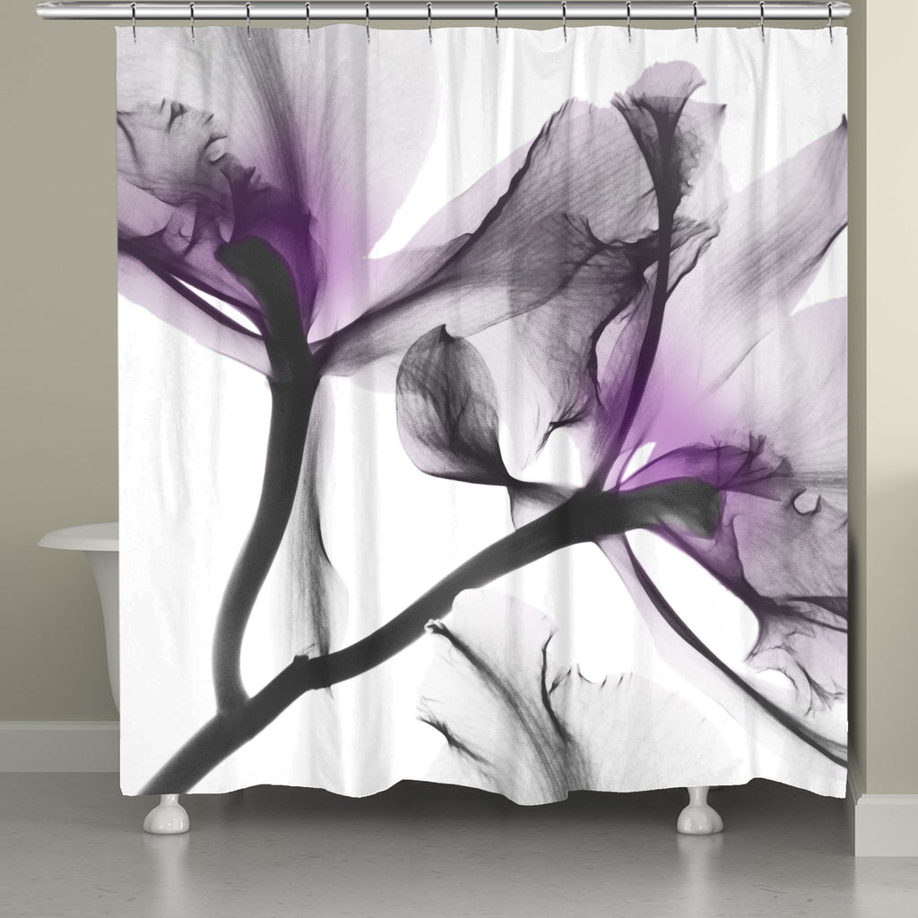 Lavender Cyclamen X Ray Flowers Shower Curtain