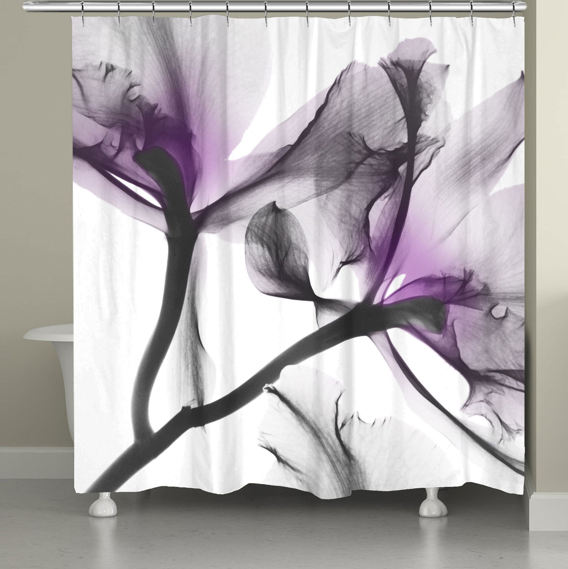 Lavender Cyclamen X-Ray Flowers Shower Curtain