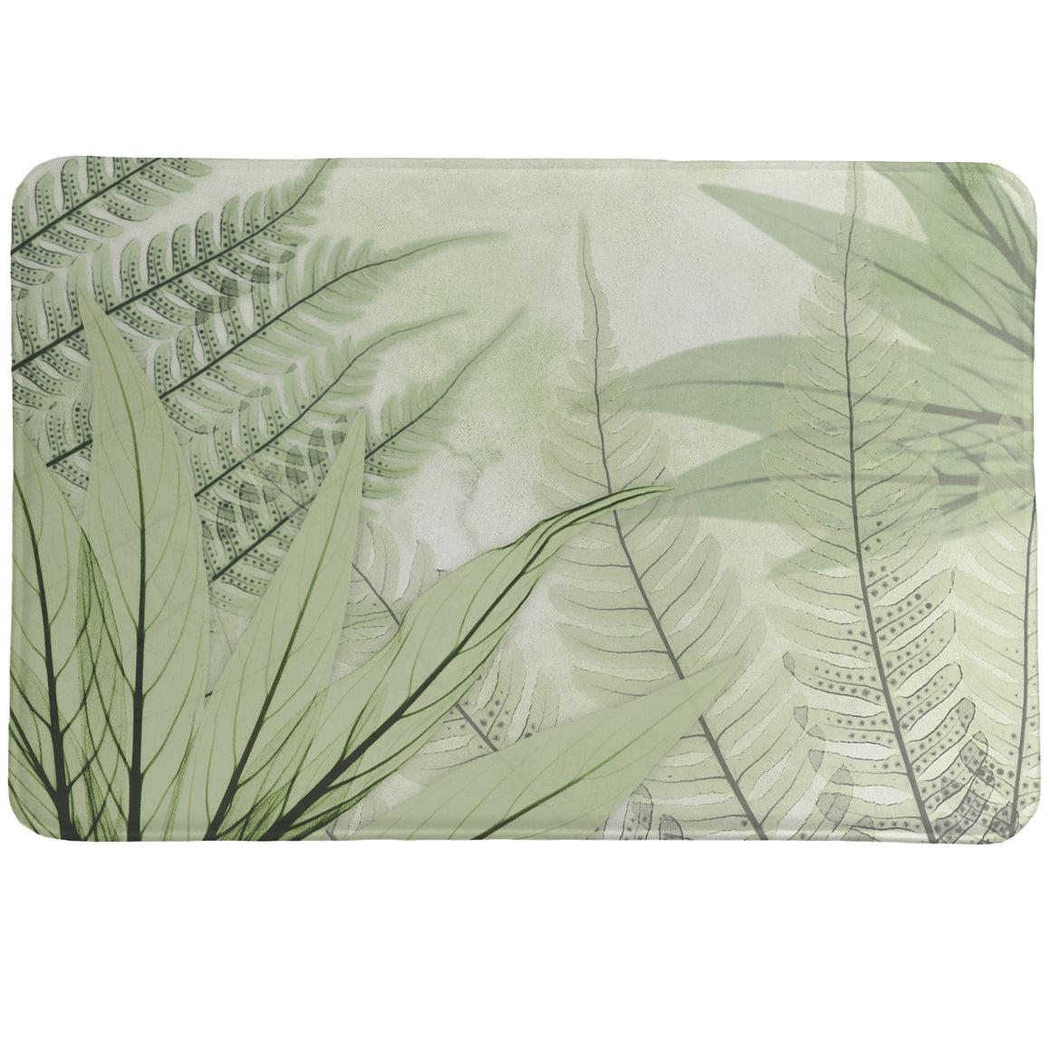 Layered Ferns Memory Foam Rug showcases a calming, nature-inspired design of layered ferns, created by a unique technique using an x-ray machine.