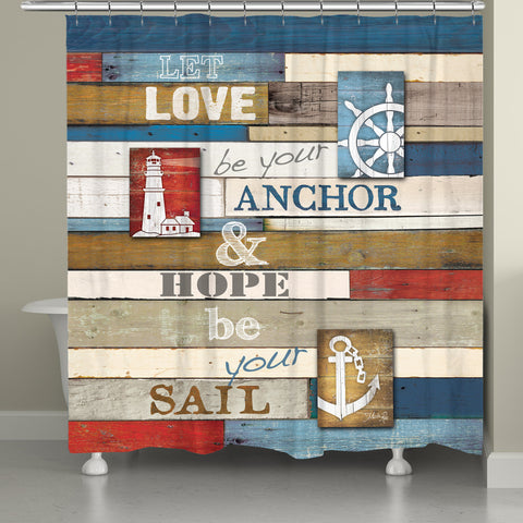 Nautical Anchor Inspiration Shower Curtain