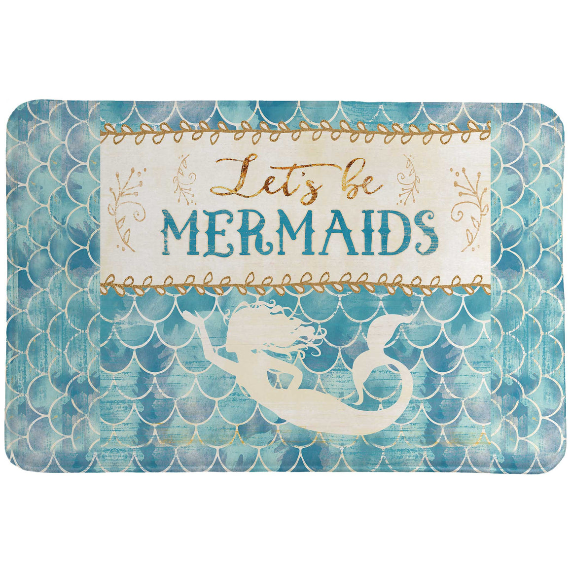 "Laural Home's ""Lets Be Mermaids Memory Foam Rug"" is a fun trendy print of an art inspired mermaid design. Bring the whimsical energy of the sea to your bathroom decor with this fun mermaid design."