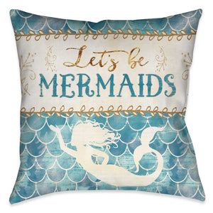"Laural Home's ""Lets Be Mermaids Indoor Decorative Pillow"" is a fun trendy print of an art inspired mermaid design. Bring the whimsical energy of the sea to your home decor with this fun home decor!"