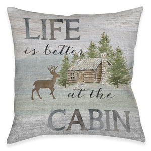 Life At The Cabin Outdoor Pillow