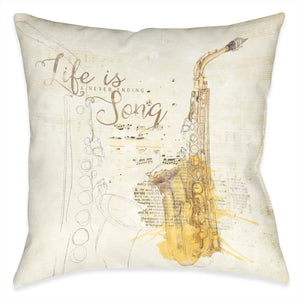 Life is a Never Ending Song Outdoor Decorative Pillow