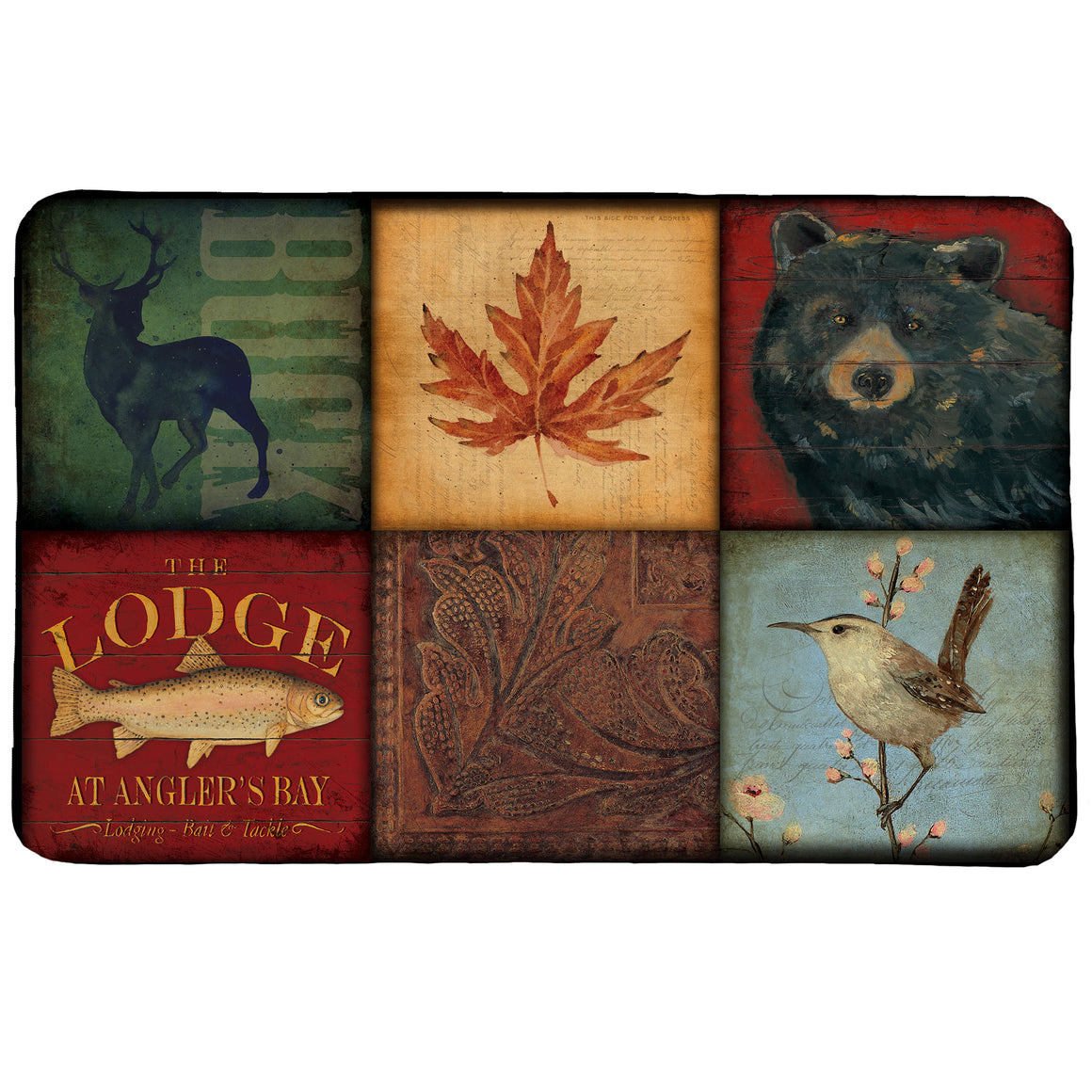 Lodge Patch Memory Foam Rug features a rustic and colorful, patch-work design with animal and plant life.