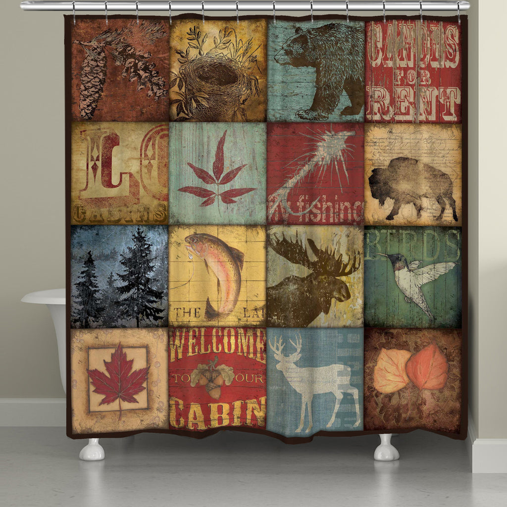 Awesome Lodge Patch Shower Curtain
