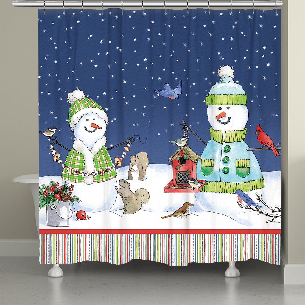 Lodge Snowman Shower Curtain