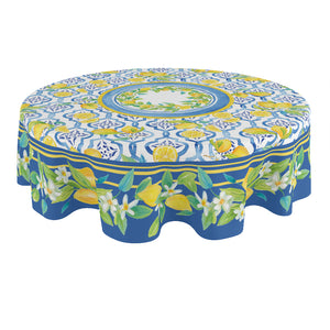Lovely Lemons Round Tablecloth