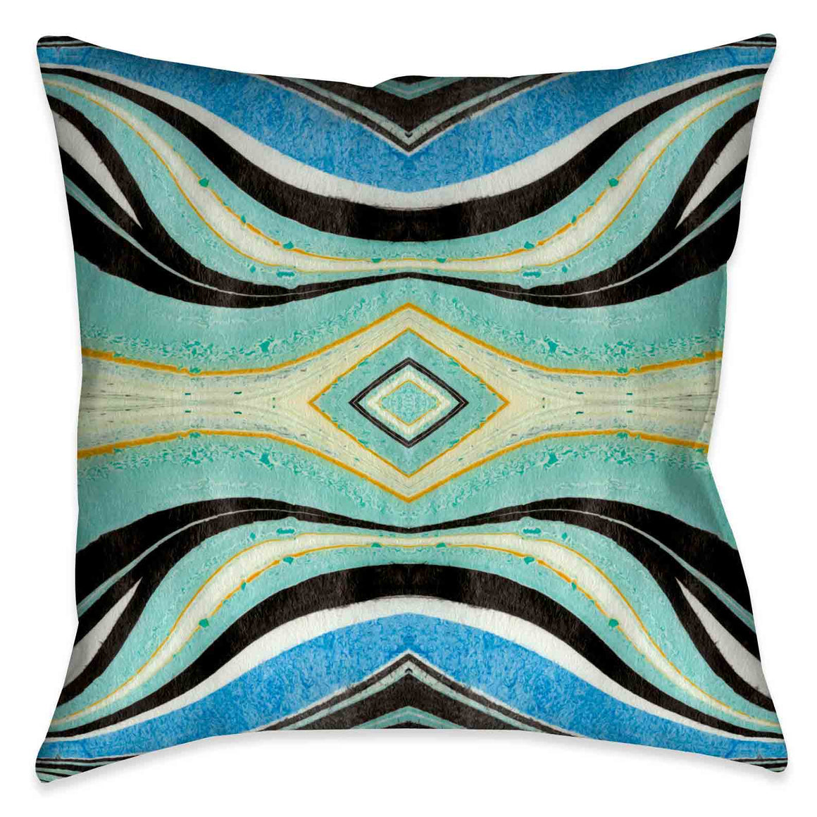 This abstract design evokes a unique artistic quality through fluid blues and turquoise colors. The accented pops of black and yellow lines and shapes in this outdoor decorative pillow, create movement that is sure to bring energy and liveliness to any space!
