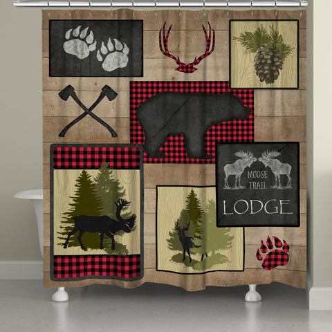 Lumberjack Plaid Lodge Patch Shower Curtain