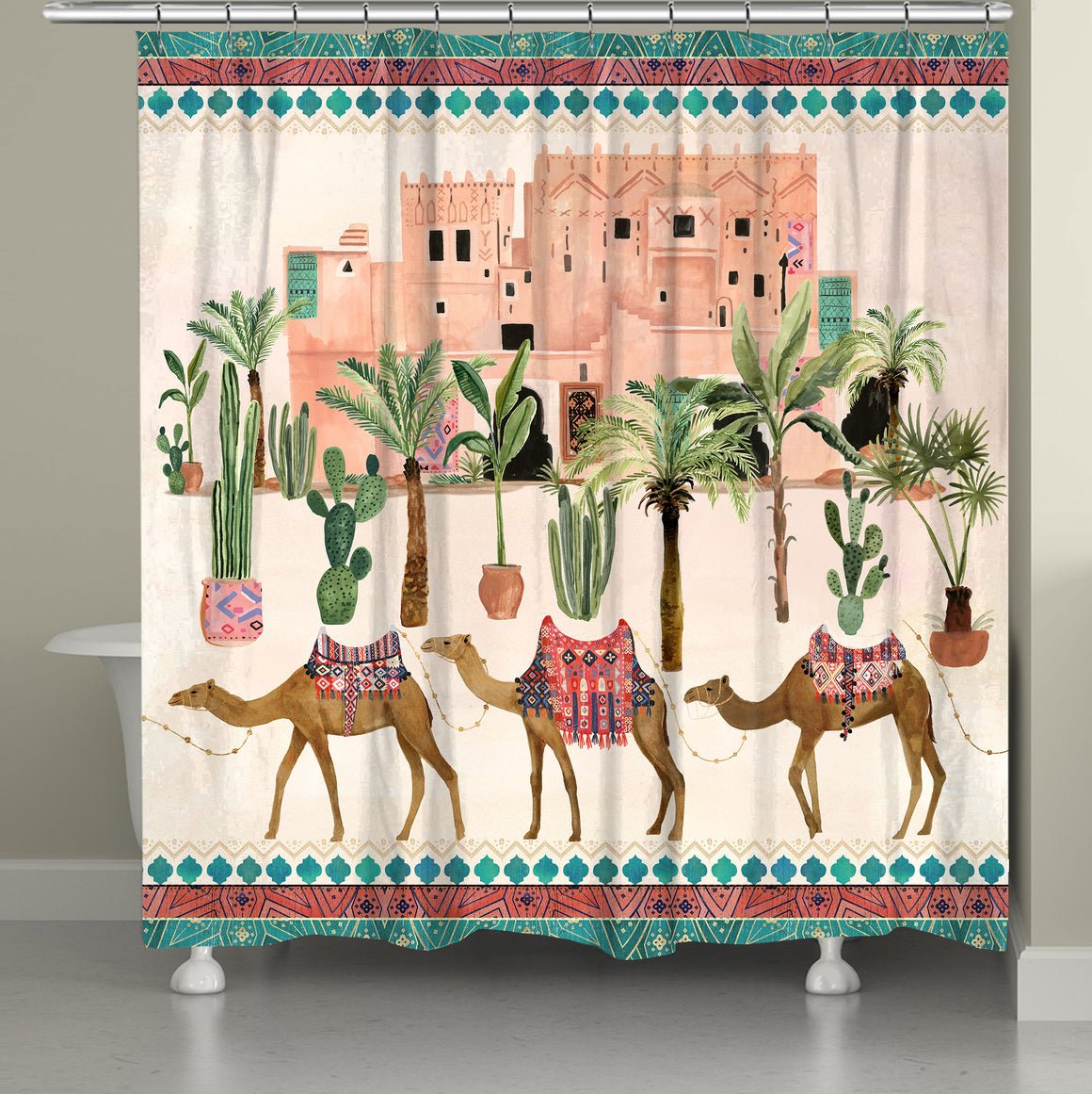"Bring the scenery of Marrakesh to your bathroom decor with this new trendy boho must-have. The ""Marrakesh Dream Shower Curtain"" exposes a fun, painterly design of trendy pattern dressed camels desert plants and distant adobe's. Transform your bathroom in to a Marrakesh dream with this art infused design!"