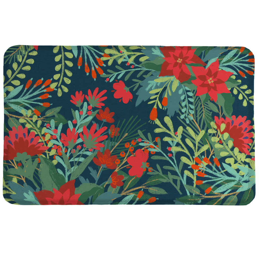 Flourishing Garden Memory Foam Rug showcases a contemporary red floral and greenery design atop a navy background.