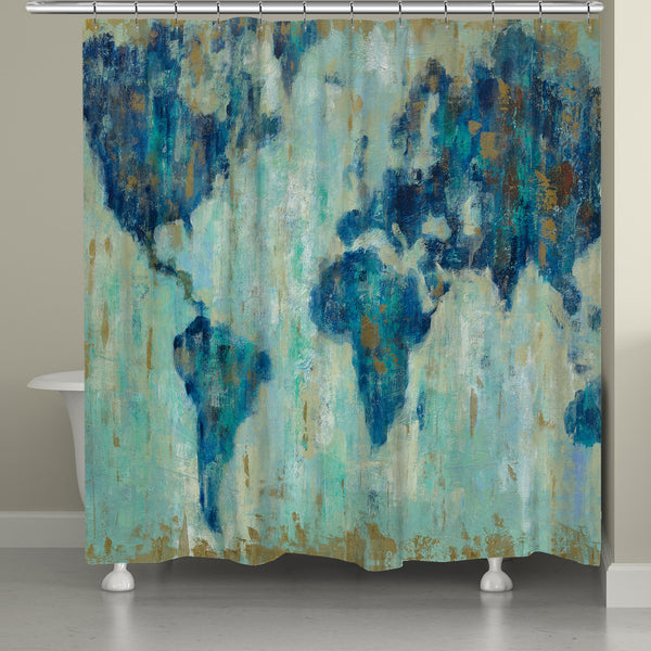 Map Of The World Shower Curtain Laural Home