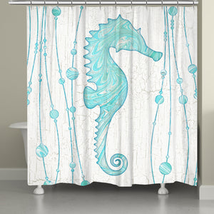 Marble Seahorse Shower Curtain