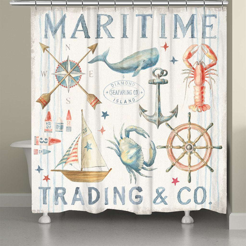 Maritime Trading Shower Curtain