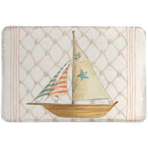Maritime Sailboat Memory Foam Rug