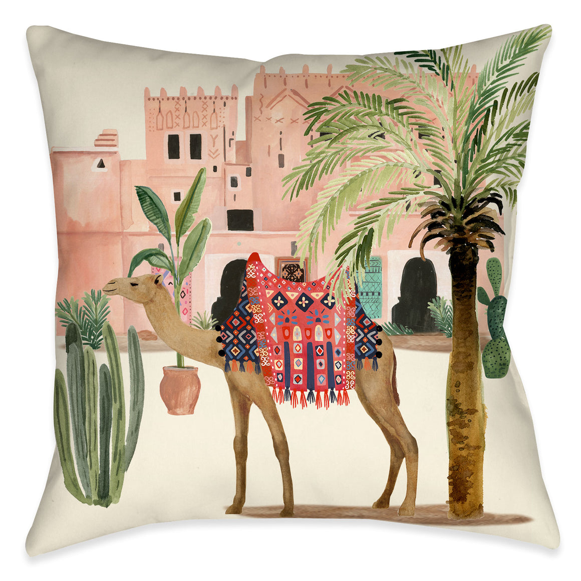 "The ""Marrakesh Dream Indoor Decorative Pillow"" exposes a fun, painterly design of trendy pattern dressed camel, desert plants and adobe huts. Bring the scenery of Marrakesh to your home decor with this bohemian must-have."