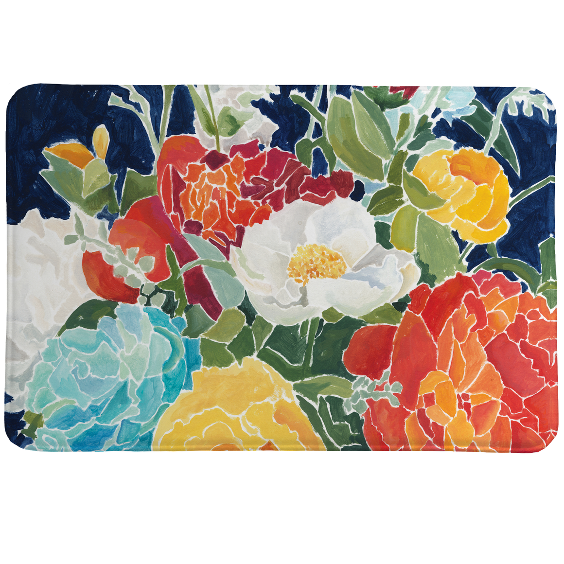 Midnight Floral Memory Foam Rug features a striking and colorful bouquet of spring's finest florals.