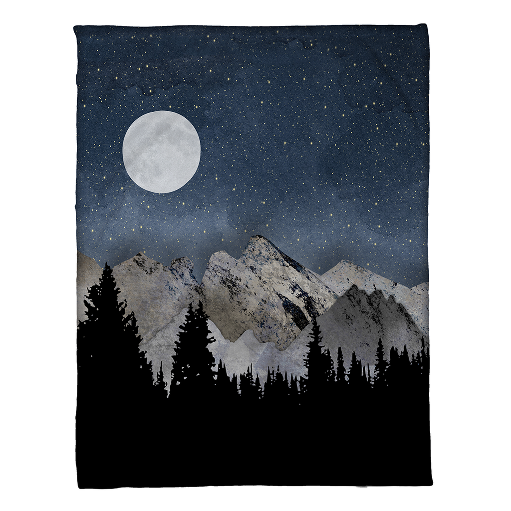 Midnight Mountains Fleece Throw