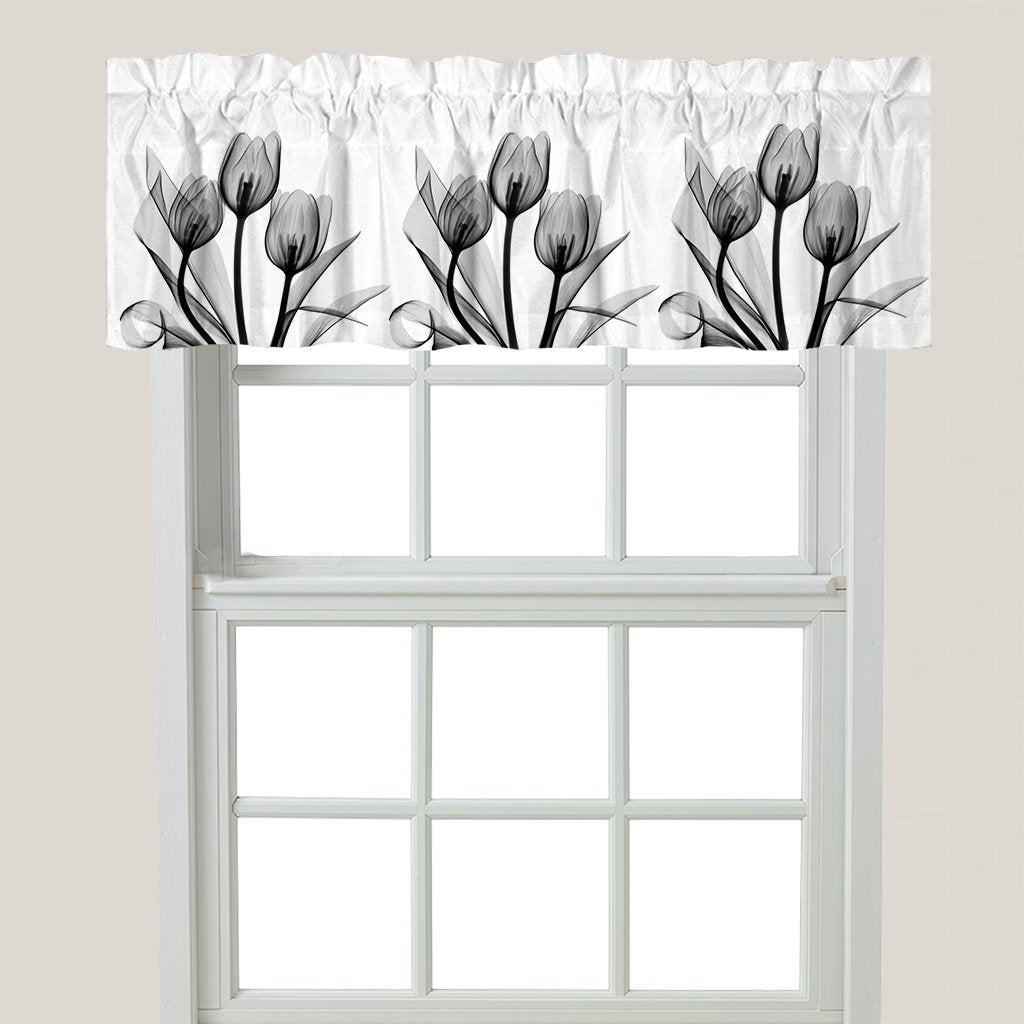 Monochromatic Black Tulips Window Valance