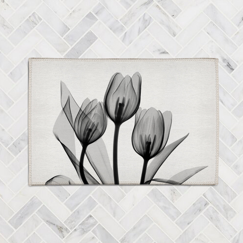Monochromatic Black Tulips Accent Rug