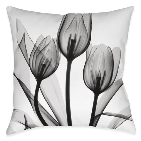 Monochromatic Black Tulips Indoor Decorative Pillow