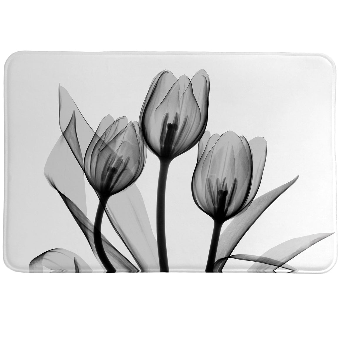 Monochromatic Black Tulips Memory Foam Rug features a calming, beautiful floral image made with a special technique using an x-ray machine and a cluster of flowers.