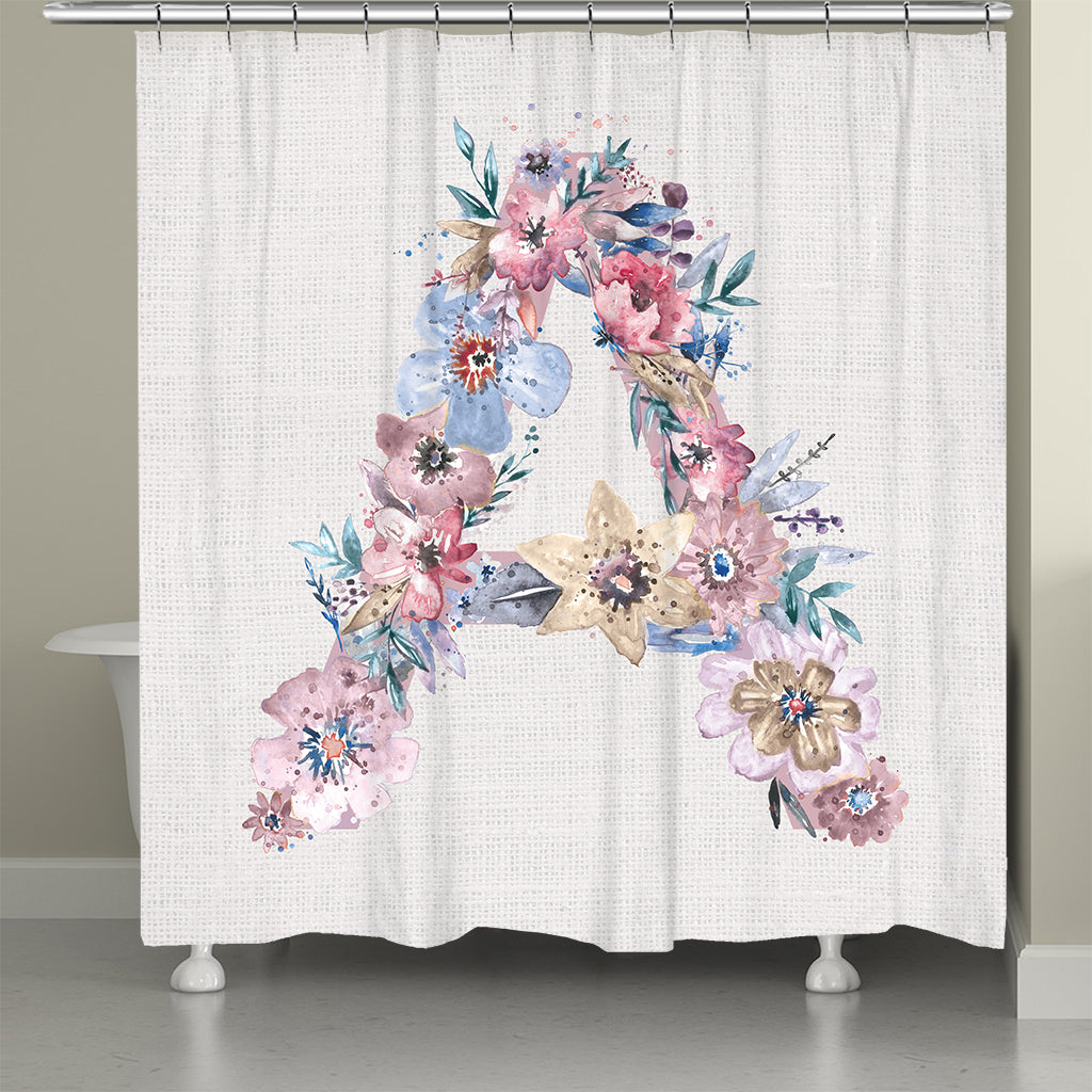 Monogram Floral Shower Curtain