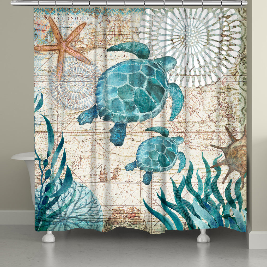 Bay Turtles Shower Curtain - Bay Turtles Shower Curtain €� Laural Home