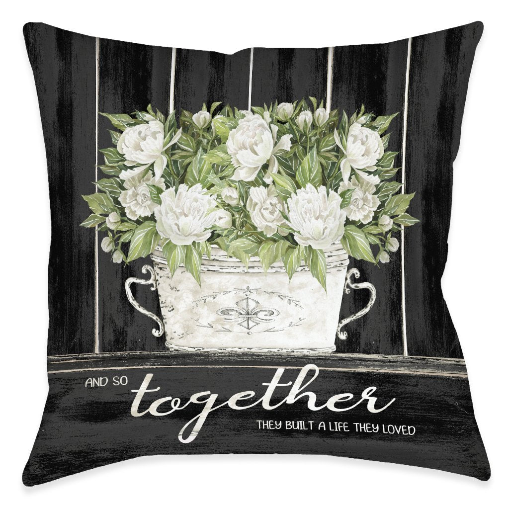 Moody Farmhouse Peonies Indoor Decorative Pillow
