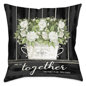 Moody Farmhouse Peonies Outdoor Decorative Pillow